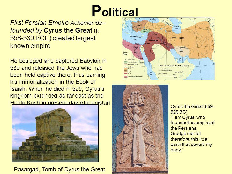 Peoples of Darius Empire Darius: kin of Cyrius: r 521-486 BCE: extended empire east and west: by far largest empire ever Most imp as an ___________, not a ______: Had to figure out how to rule over a far flung empire, with many peoples (70 distinct ethnic groups)how to communicate, how to administer and tax territories.