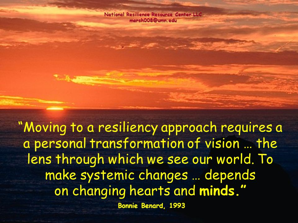 Moving to a resiliency approach requires a a personal transformation of vision … the lens through which we see our world. To make systemic changes … d