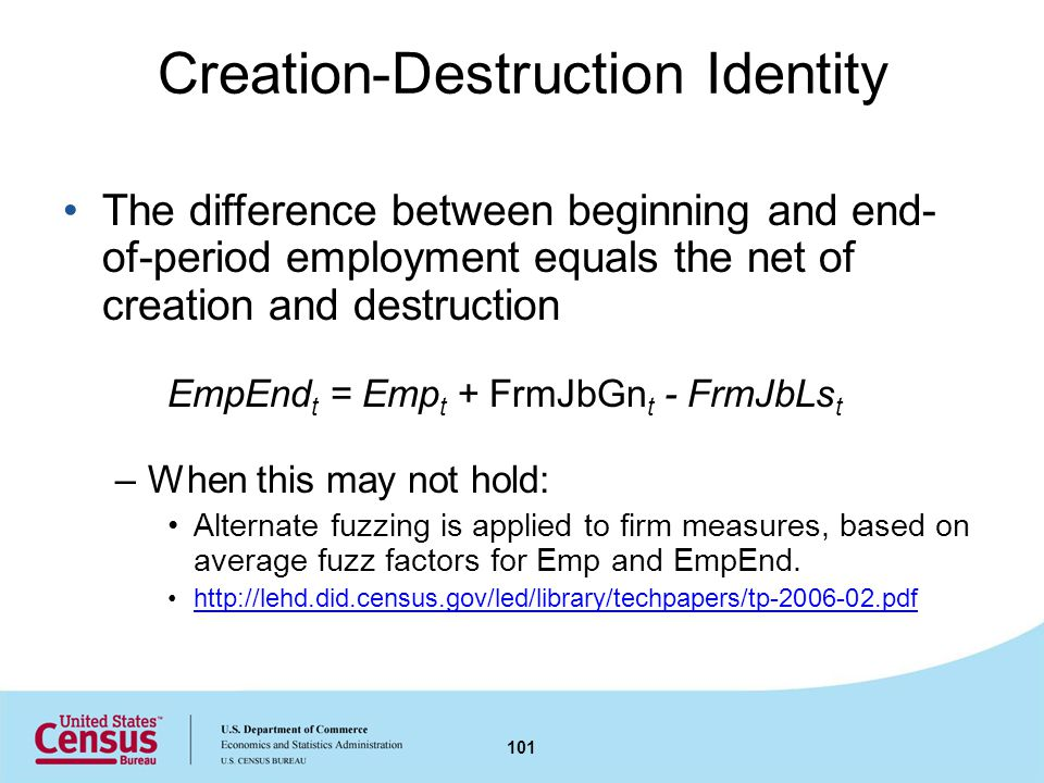 Creation-Destruction Identity The difference between beginning and end- of-period employment equals the net of creation and destruction EmpEnd t = Emp t + FrmJbGn t - FrmJbLs t –When this may not hold: Alternate fuzzing is applied to firm measures, based on average fuzz factors for Emp and EmpEnd.