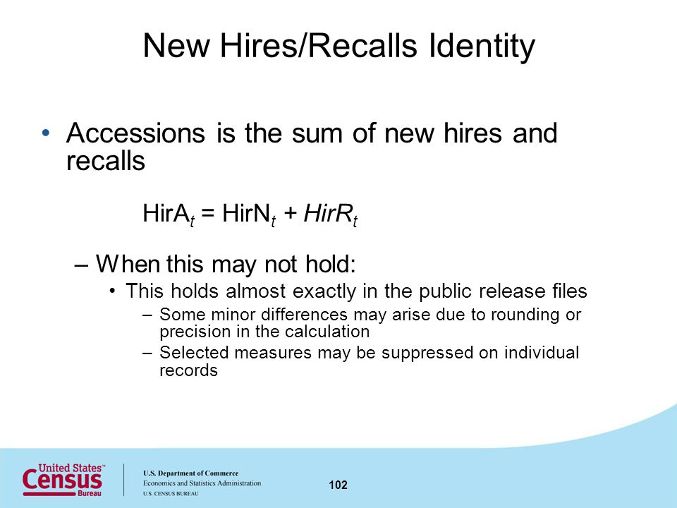 New Hires/Recalls Identity Accessions is the sum of new hires and recalls HirA t = HirN t + HirR t –When this may not hold: This holds almost exactly in the public release files –Some minor differences may arise due to rounding or precision in the calculation –Selected measures may be suppressed on individual records 102