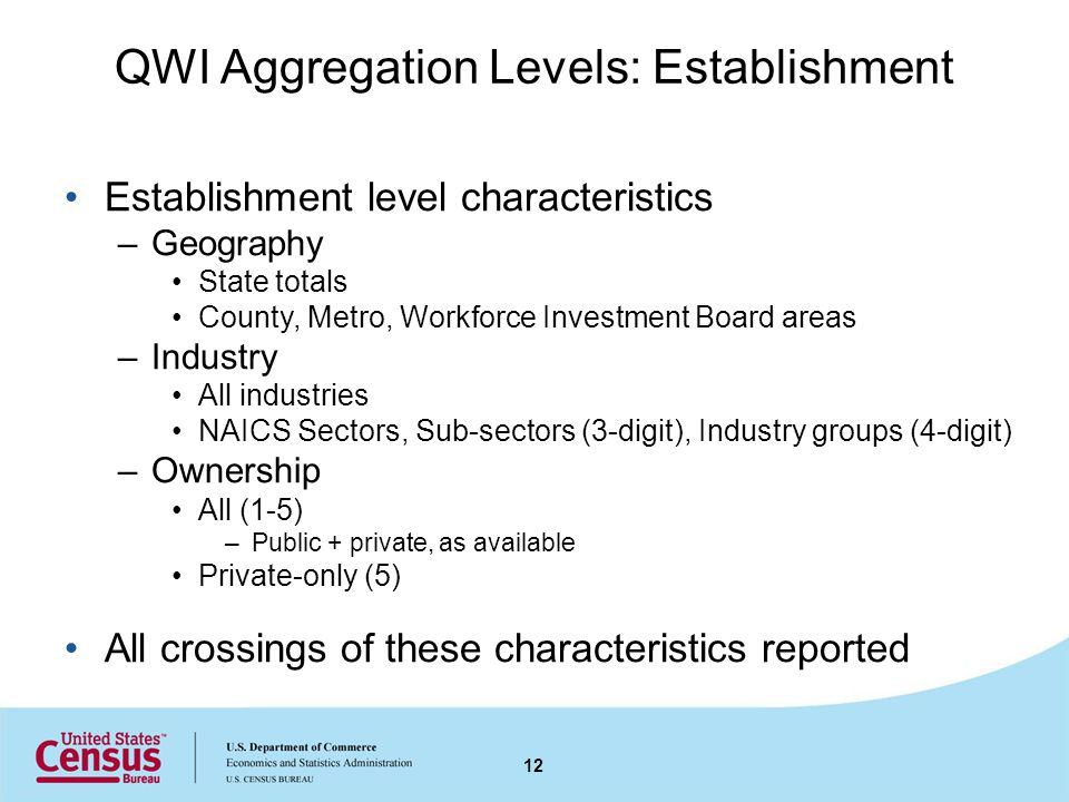 QWI Aggregation Levels: Establishment Establishment level characteristics –Geography State totals County, Metro, Workforce Investment Board areas –Industry All industries NAICS Sectors, Sub-sectors (3-digit), Industry groups (4-digit) –Ownership All (1-5) –Public + private, as available Private-only (5) All crossings of these characteristics reported 12
