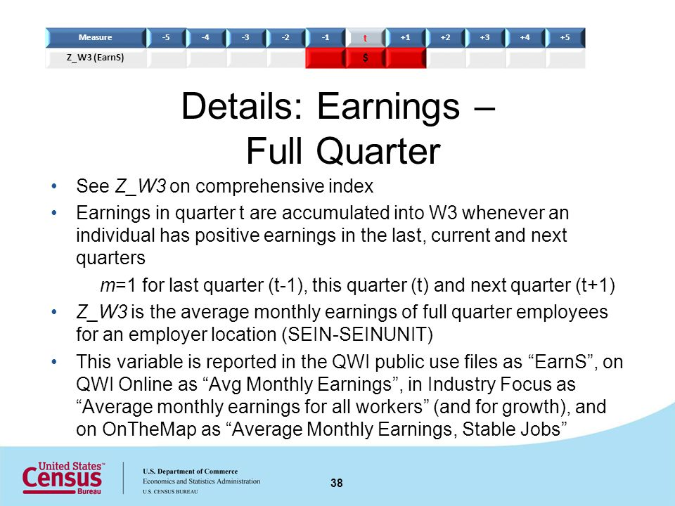 Details: Earnings – Full Quarter See Z_W3 on comprehensive index Earnings in quarter t are accumulated into W3 whenever an individual has positive earnings in the last, current and next quarters m=1 for last quarter (t-1), this quarter (t) and next quarter (t+1) Z_W3 is the average monthly earnings of full quarter employees for an employer location (SEIN-SEINUNIT) This variable is reported in the QWI public use files as EarnS, on QWI Online as Avg Monthly Earnings, in Industry Focus as Average monthly earnings for all workers (and for growth), and on OnTheMap as Average Monthly Earnings, Stable Jobs 38 Measure-5-4-3-2 t +1+2+3+4+5 Z_W3 (EarnS) $