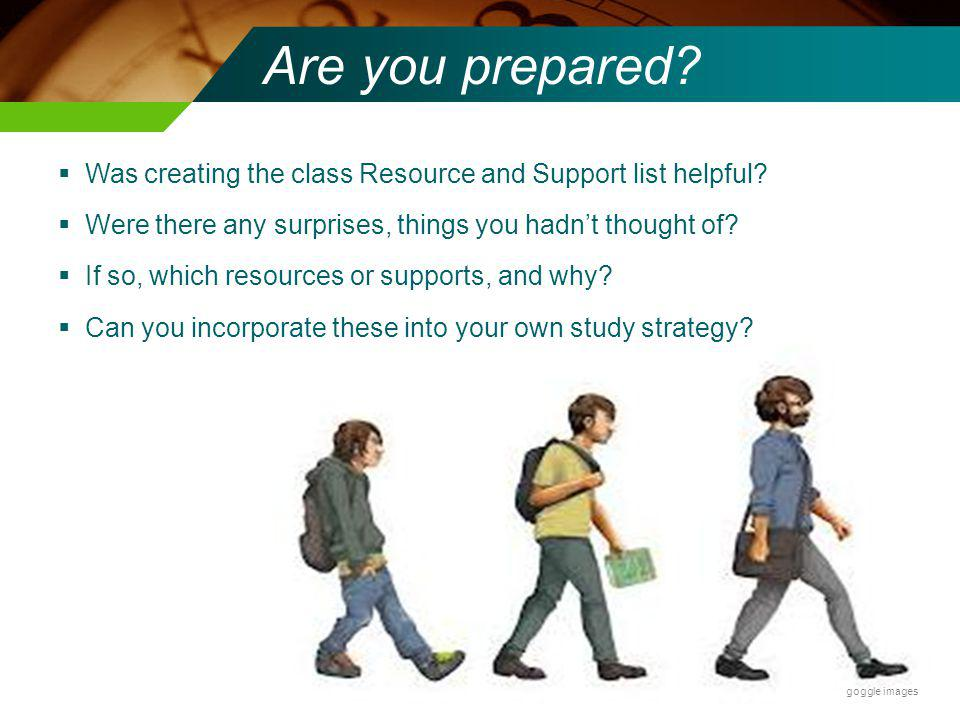 Are you prepared.Was creating the class Resource and Support list helpful.