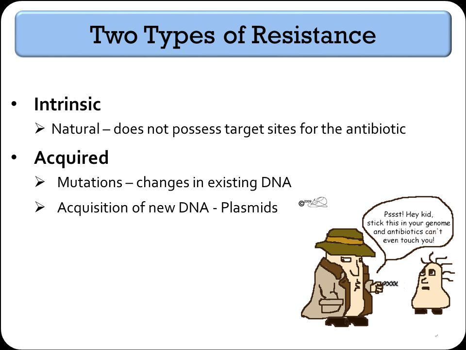 9 Two Types of Resistance Intrinsic Natural – does not possess target sites for the antibiotic Acquired Mutations – changes in existing DNA Acquisition of new DNA - Plasmids