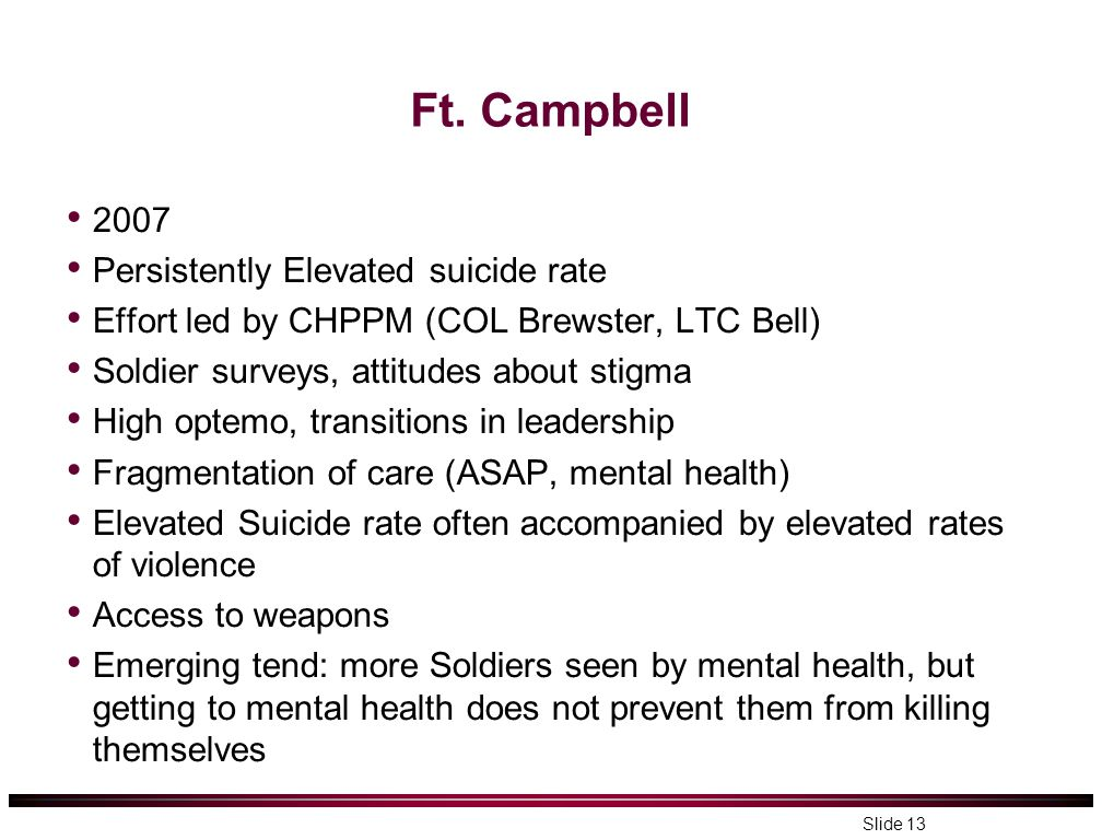 Ft. Campbell 2007 Persistently Elevated suicide rate Effort led by CHPPM (COL Brewster, LTC Bell) Soldier surveys, attitudes about stigma High optemo,