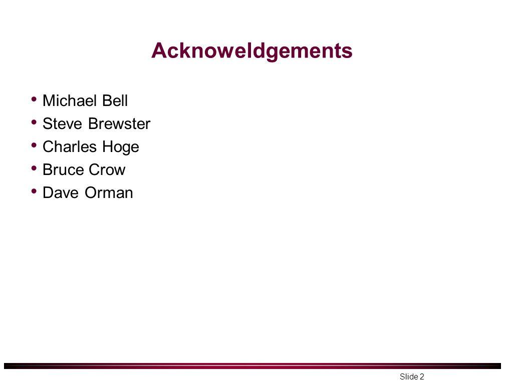 Acknoweldgements Michael Bell Steve Brewster Charles Hoge Bruce Crow Dave Orman Slide 2