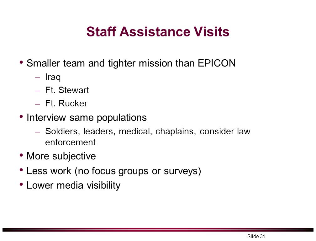 Staff Assistance Visits Smaller team and tighter mission than EPICON –Iraq –Ft. Stewart –Ft. Rucker Interview same populations –Soldiers, leaders, med