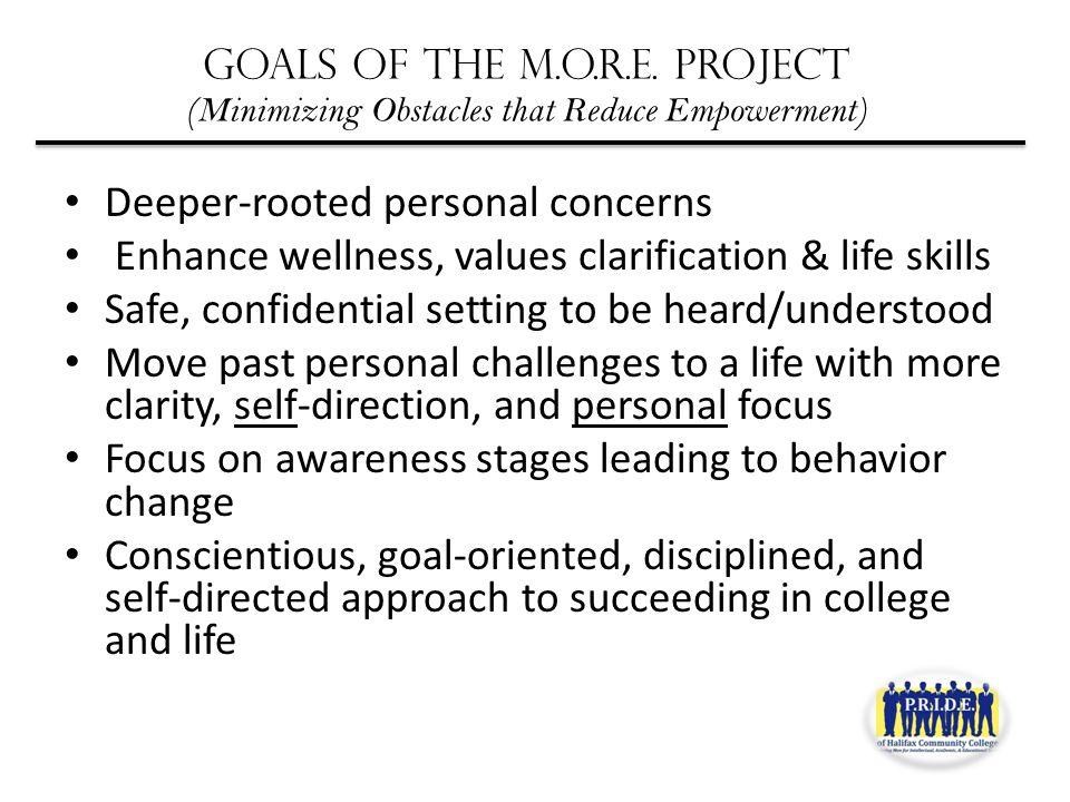 Goals of the M.O.R.E.