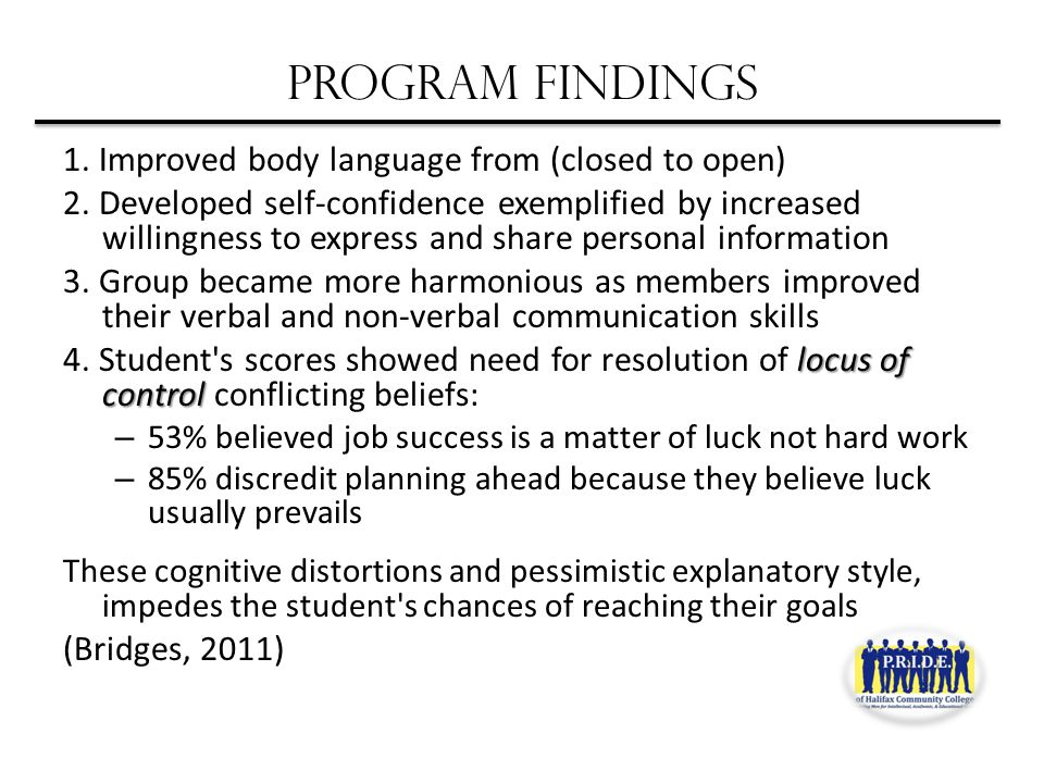 PROGRAM FINDINGS 1. Improved body language from (closed to open) 2.