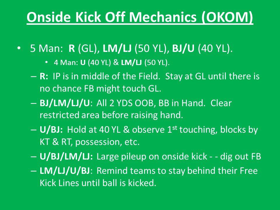 Onside Kick Off Mechanics (OKOM) 5 Man: R (GL), LM/LJ (50 YL), BJ/U (40 YL).