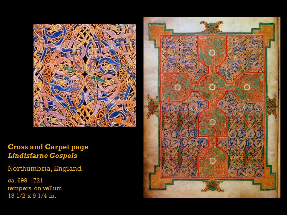 Cross and Carpet page Lindisfarne Gospels Northumbria, England ca. 698 - 721 tempera on vellum 13 1/2 x 9 1/4 in.