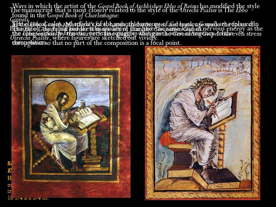 Saint Matthew Ebbo Gospels Hautvillers, France ca. 816 - 835 ink and tempera on vellum 10 1/4 x 8 3/4 in. Ways in which the artist of the Gospel Book