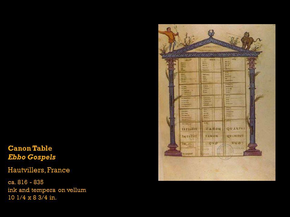 Canon Table Ebbo Gospels Hautvillers, France ca. 816 - 835 ink and tempera on vellum 10 1/4 x 8 3/4 in.