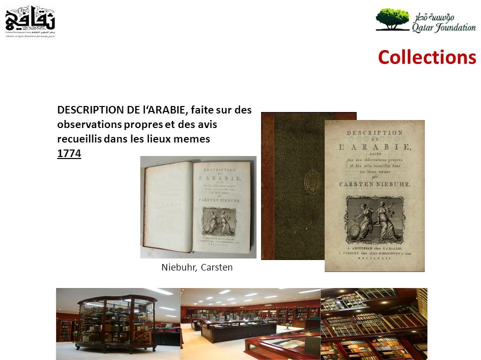 Collections Niebuhr, Carsten DESCRIPTION DE lARABIE, faite sur des observations propres et des avis recueillis dans les lieux memes 1774