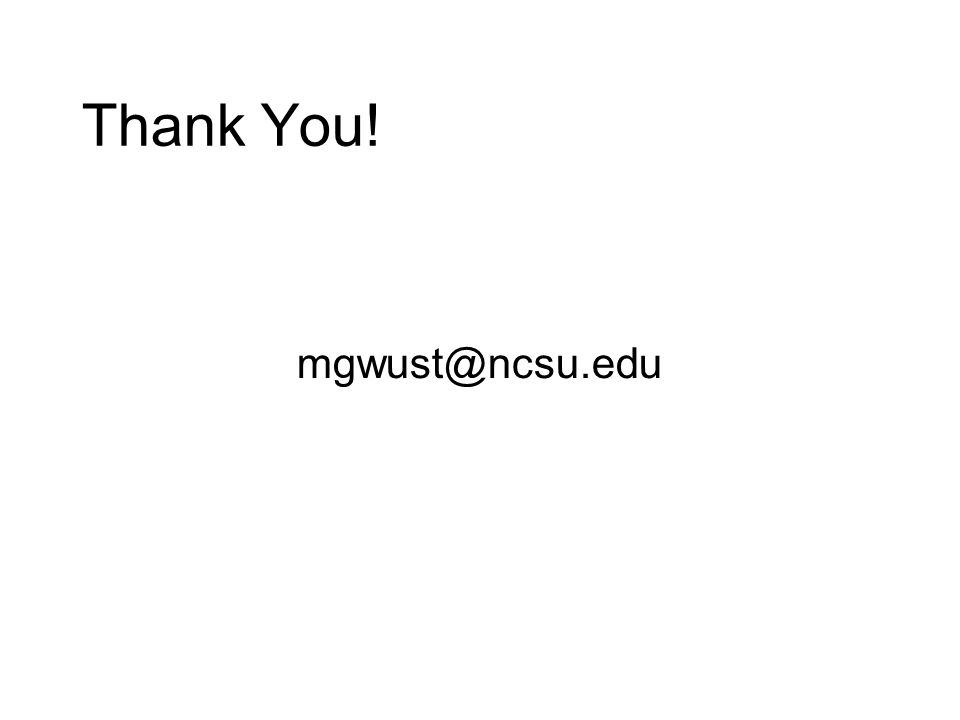 Thank You! mgwust@ncsu.edu