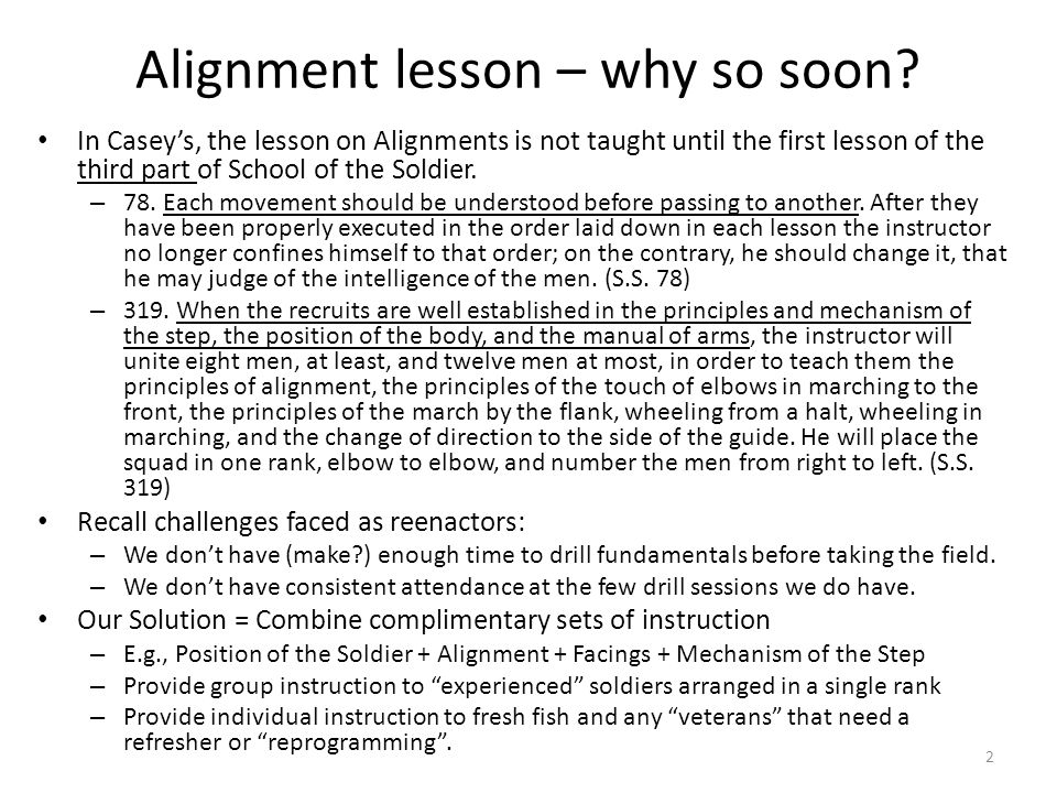 Alignment lesson – why so soon.