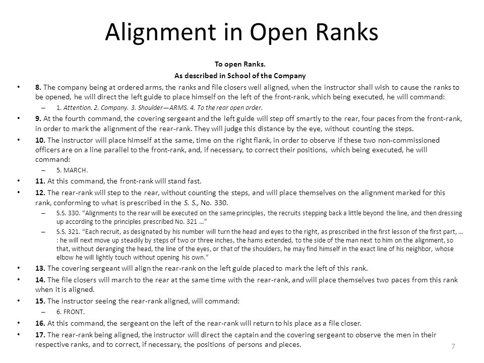 Alignment in Open Ranks To open Ranks. As described in School of the Company 8.