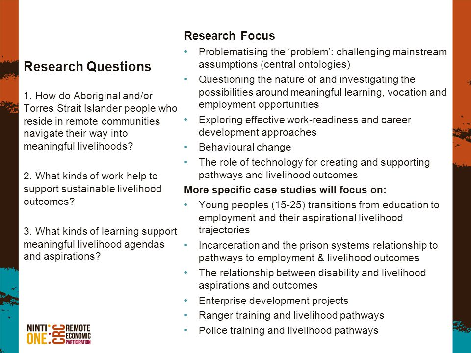 Research Questions Research Focus Problematising the problem: challenging mainstream assumptions (central ontologies) Questioning the nature of and investigating the possibilities around meaningful learning, vocation and employment opportunities Exploring effective work-readiness and career development approaches Behavioural change The role of technology for creating and supporting pathways and livelihood outcomes More specific case studies will focus on: Young peoples (15-25) transitions from education to employment and their aspirational livelihood trajectories Incarceration and the prison systems relationship to pathways to employment & livelihood outcomes The relationship between disability and livelihood aspirations and outcomes Enterprise development projects Ranger training and livelihood pathways Police training and livelihood pathways 1.