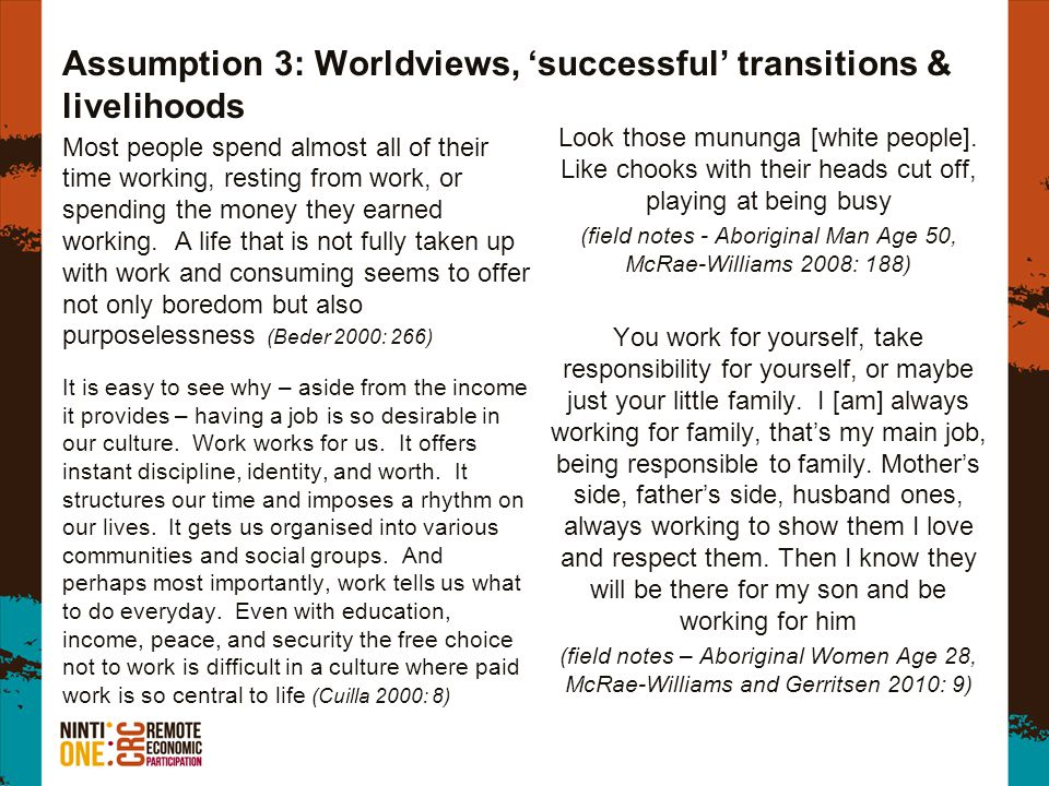 Assumption 3: Worldviews, successful transitions & livelihoods Most people spend almost all of their time working, resting from work, or spending the money they earned working.