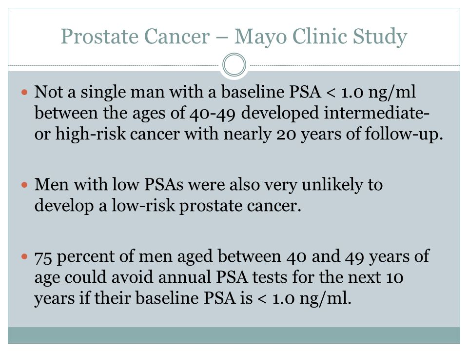 Prostate Cancer – Mayo Clinic Study Not a single man with a baseline PSA < 1.0 ng/ml between the ages of 40-49 developed intermediate- or high-risk ca
