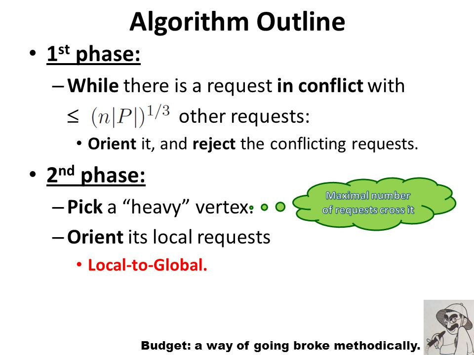 Algorithm Outline 1 st phase: – While there is a request in conflict with other requests: Orient it, and reject the conflicting requests.