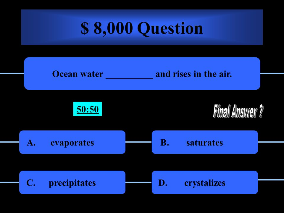 $ 4,000 Question The name of the cycle that includes: evaporation, condensation, precipitation, and saturation is called the: Water CycleWash Cycle A.B.