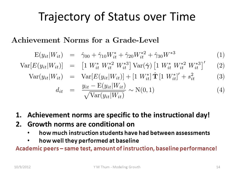 Trajectory of Status over Time 1.Achievement norms are specific to the instructional day.