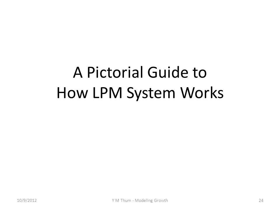 A Pictorial Guide to How LPM System Works 10/9/2012Y M Thum - Modeling Growth24