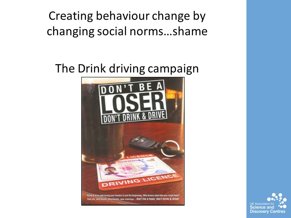 Creating behaviour change by changing social norms…shame The Drink driving campaign