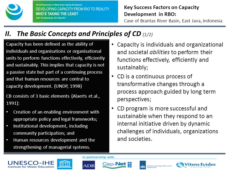 Key Success Factors on Capacity Development in RBO: Case of Brantas River Basin, East Java, Indonesia II.The Basic Concepts and Principles of CD (1/2) Capacity is individuals and organizational and societal abilities to perform their functions effectively, efficiently and sustainably; CD is a continuous process of transformative changes through a process approach guided by long term perspectives; CD program is more successful and sustainable when they respond to an internal initiative driven by dynamic challenges of individuals, organizations and societies.
