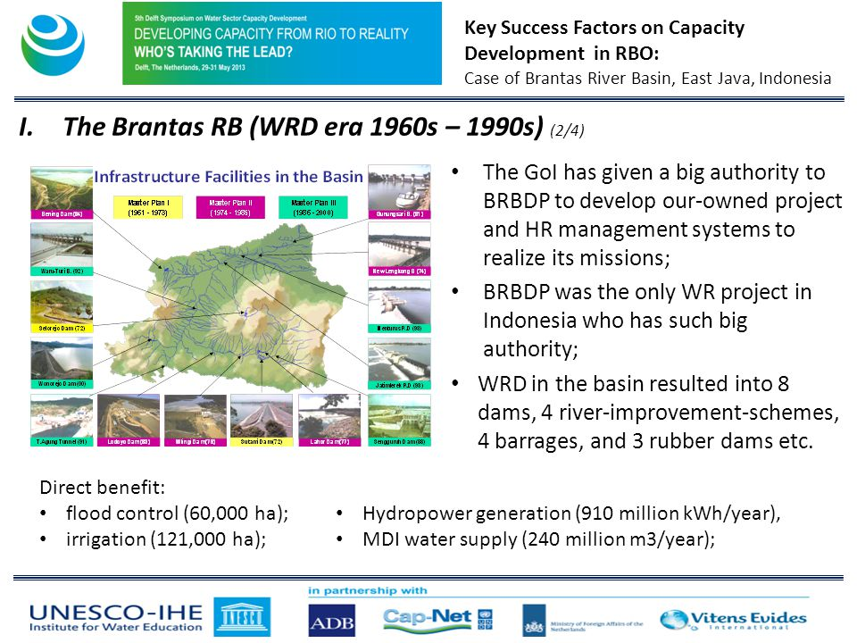Key Success Factors on Capacity Development in RBO: Case of Brantas River Basin, East Java, Indonesia The GoI has given a big authority to BRBDP to develop our-owned project and HR management systems to realize its missions; BRBDP was the only WR project in Indonesia who has such big authority; WRD in the basin resulted into 8 dams, 4 river-improvement-schemes, 4 barrages, and 3 rubber dams etc.