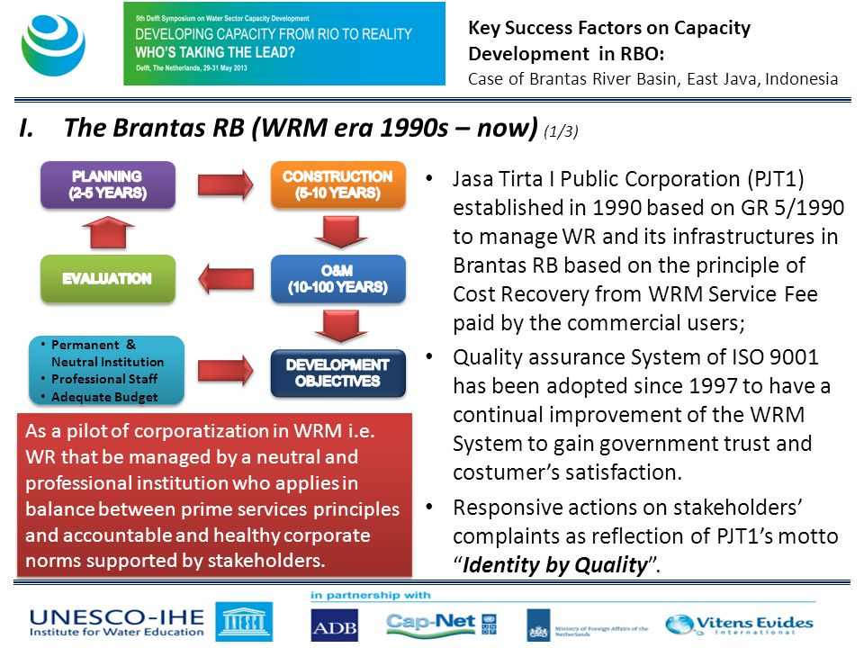 Key Success Factors on Capacity Development in RBO: Case of Brantas River Basin, East Java, Indonesia Jasa Tirta I Public Corporation (PJT1) established in 1990 based on GR 5/1990 to manage WR and its infrastructures in Brantas RB based on the principle of Cost Recovery from WRM Service Fee paid by the commercial users; Quality assurance System of ISO 9001 has been adopted since 1997 to have a continual improvement of the WRM System to gain government trust and costumers satisfaction.