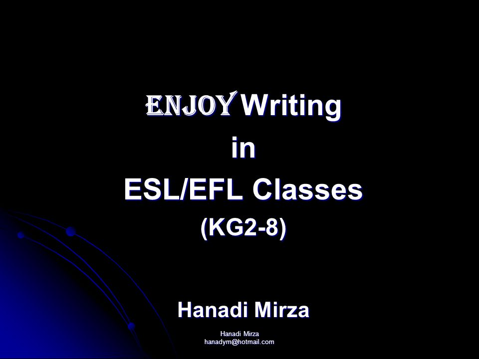 Hanadi Mirza hanadym@hotmail.com Writing Development Writing Development Why Write.