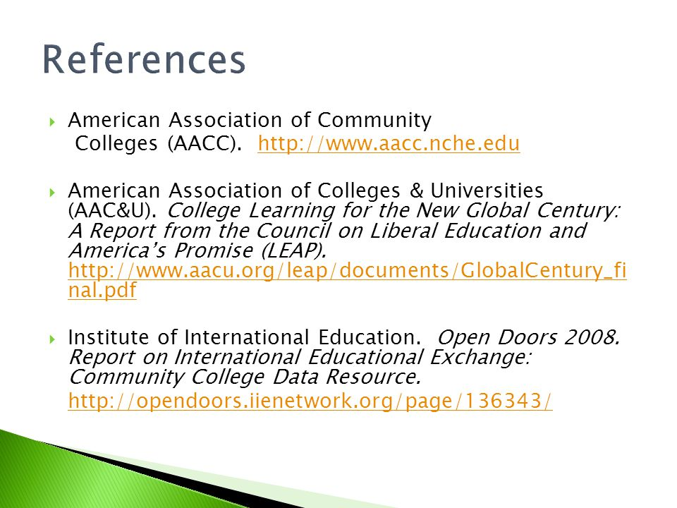 References American Association of Community Colleges (AACC).