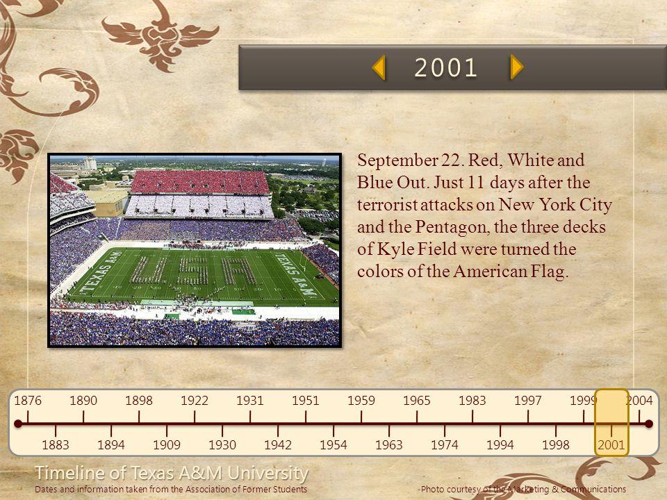 Timeline of Texas A&M University 1876 1883 1890 1894 1898 1909 1922 1930 1931 1942 1951 1954 1959 1963 1965 1974 1983 1994 1997 1998 1999 2001 2004 Da
