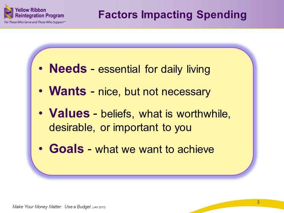 Make Your Money Matter: Use a Budget (JAN 2013) Identifying Values 4 What do you value in your life.