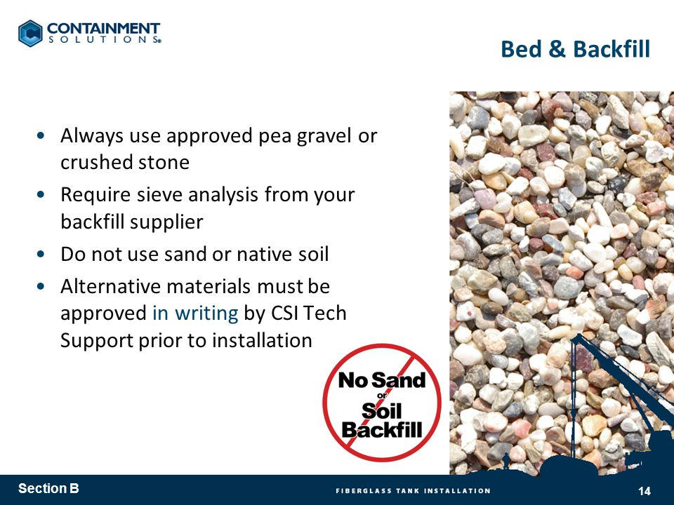 Bed & Backfill Always use approved pea gravel or crushed stone Require sieve analysis from your backfill supplier Do not use sand or native soil Alternative materials must be approved in writing by CSI Tech Support prior to installation Section B 14