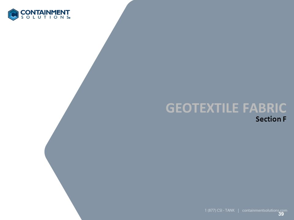 39 GEOTEXTILE FABRIC Section F