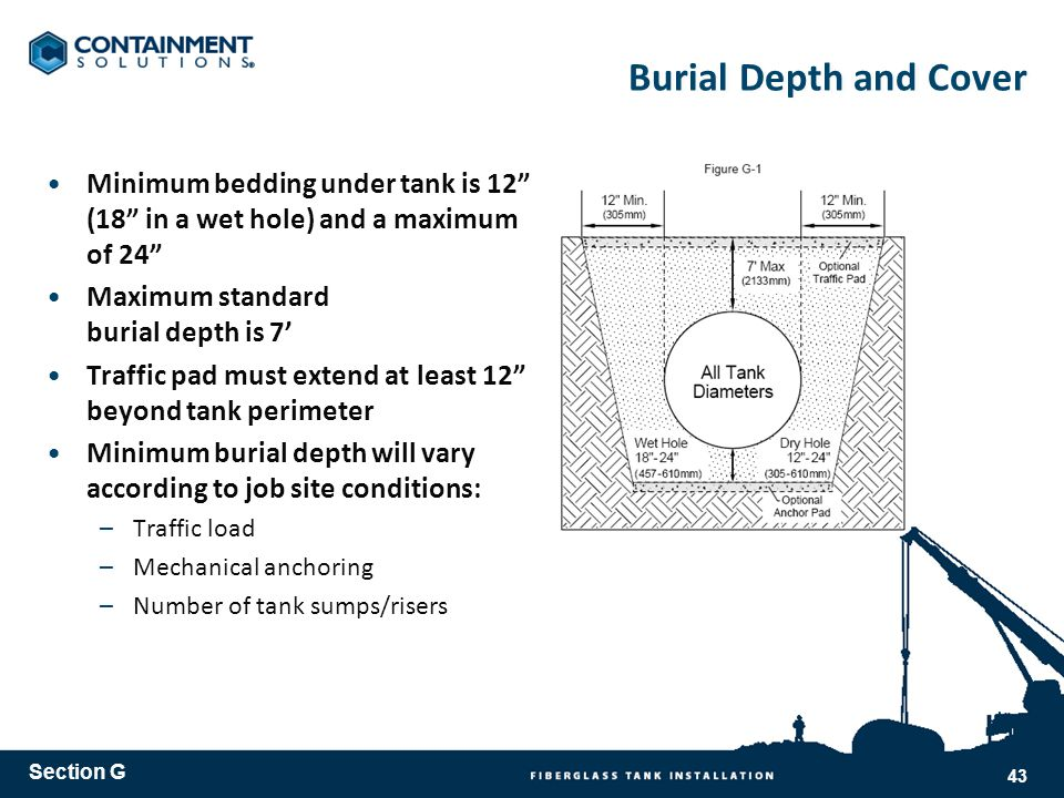 Burial Depth and Cover Minimum bedding under tank is 12 (18 in a wet hole) and a maximum of 24 Maximum standard burial depth is 7 Traffic pad must extend at least 12 beyond tank perimeter Minimum burial depth will vary according to job site conditions: –Traffic load –Mechanical anchoring –Number of tank sumps/risers Section G 43
