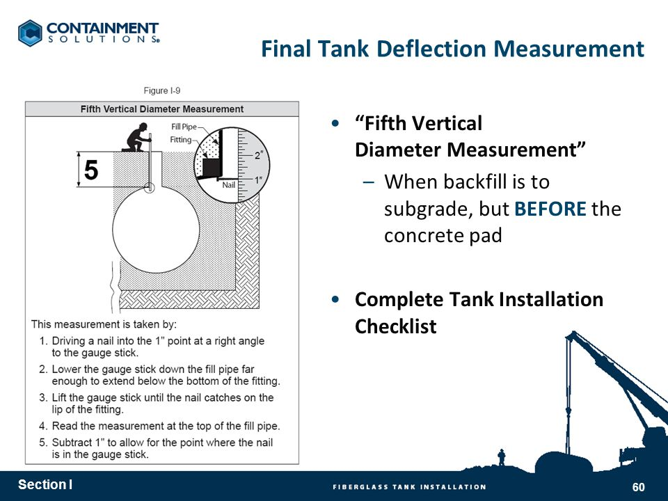 Fifth Vertical Diameter Measurement –When backfill is to subgrade, but BEFORE the concrete pad Complete Tank Installation Checklist Final Tank Deflection Measurement Section I 60