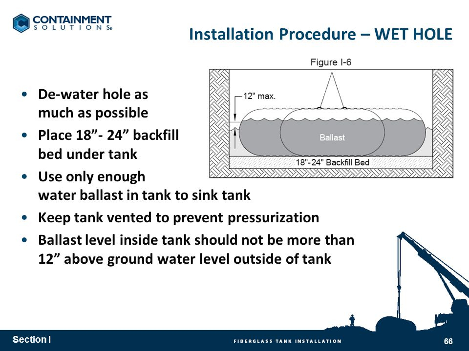 Installation Procedure – WET HOLE De-water hole as much as possible Place 18- 24 backfill bed under tank Use only enough water ballast in tank to sink tank Keep tank vented to prevent pressurization Ballast level inside tank should not be more than 12 above ground water level outside of tank Section I 66
