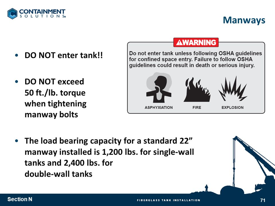 Manways DO NOT enter tank!.DO NOT exceed 50 ft./lb.