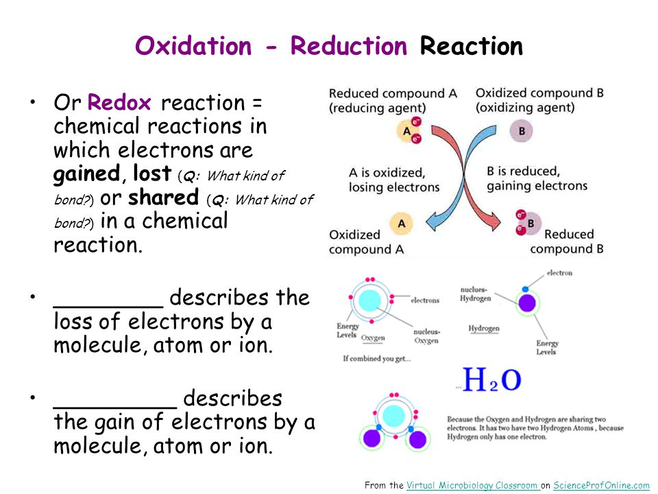 Oxidation - Reduction Reaction Or Redox reaction = chemical reactions in which electrons are gained, lost (Q: What kind of bond?) or shared (Q: What k