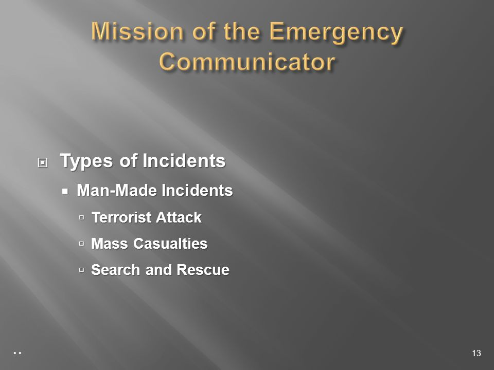 Types of Incidents Types of Incidents Man-Made Incidents Man-Made Incidents Terrorist Attack Terrorist Attack Mass Casualties Mass Casualties Search and Rescue Search and Rescue 13
