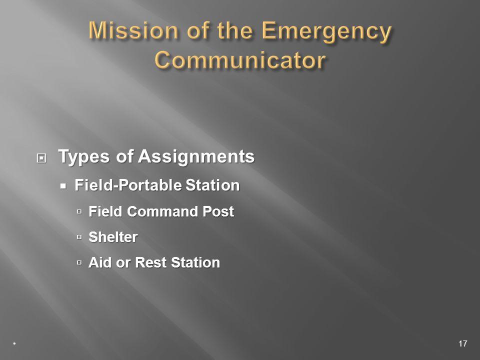 Types of Assignments Types of Assignments Field-Portable Station Field-Portable Station Field Command Post Field Command Post Shelter Shelter Aid or Rest Station Aid or Rest Station 17