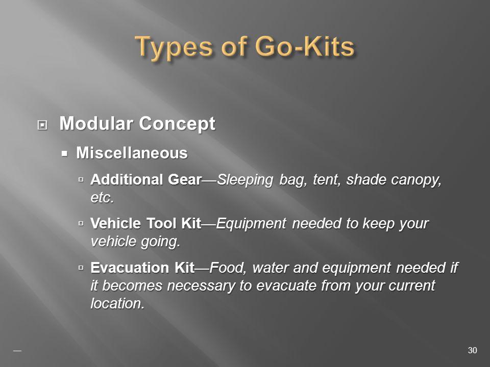 Modular Concept Modular Concept Miscellaneous Miscellaneous Additional GearSleeping bag, tent, shade canopy, etc.