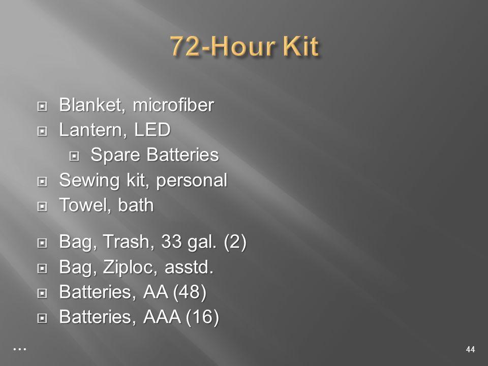Blanket, microfiber Blanket, microfiber Lantern, LED Lantern, LED Spare Batteries Spare Batteries Sewing kit, personal Sewing kit, personal Towel, bath Towel, bath Bag, Trash, 33 gal.