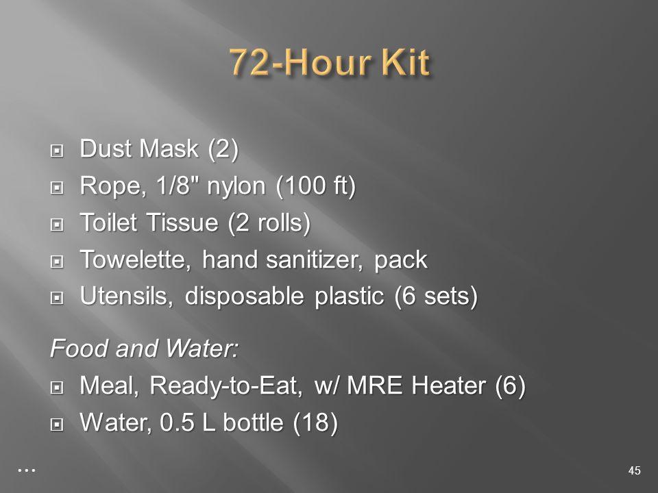 Dust Mask (2) Dust Mask (2) Rope, 1/8 nylon (100 ft) Rope, 1/8 nylon (100 ft) Toilet Tissue (2 rolls) Toilet Tissue (2 rolls) Towelette, hand sanitizer, pack Towelette, hand sanitizer, pack Utensils, disposable plastic (6 sets) Utensils, disposable plastic (6 sets) Food and Water: Meal, Ready-to-Eat, w/ MRE Heater (6) Meal, Ready-to-Eat, w/ MRE Heater (6) Water, 0.5 L bottle (18) Water, 0.5 L bottle (18) 45