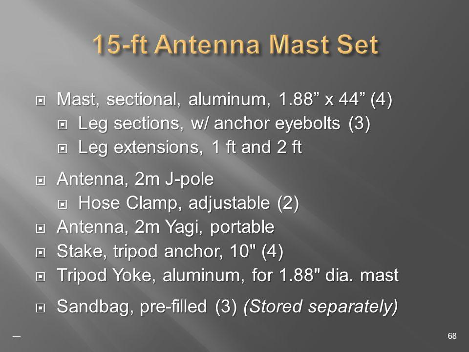 Mast, sectional, aluminum, 1.88 x 44 (4) Mast, sectional, aluminum, 1.88 x 44 (4) Leg sections, w/ anchor eyebolts (3) Leg sections, w/ anchor eyebolts (3) Leg extensions, 1 ft and 2 ft Leg extensions, 1 ft and 2 ft Antenna, 2m J-pole Antenna, 2m J-pole Hose Clamp, adjustable (2) Hose Clamp, adjustable (2) Antenna, 2m Yagi, portable Antenna, 2m Yagi, portable Stake, tripod anchor, 10 (4) Stake, tripod anchor, 10 (4) Tripod Yoke, aluminum, for 1.88 dia.