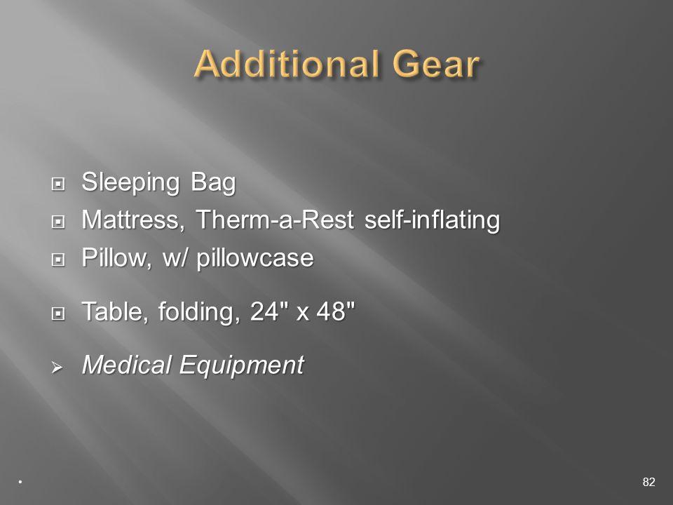 Sleeping Bag Sleeping Bag Mattress, Therm-a-Rest self-inflating Mattress, Therm-a-Rest self-inflating Pillow, w/ pillowcase Pillow, w/ pillowcase Table, folding, 24 x 48 Table, folding, 24 x 48 Medical Equipment Medical Equipment 82